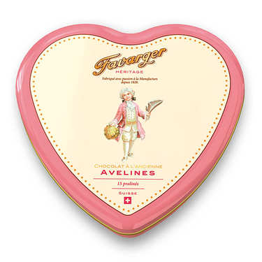 Heart metal tin 15 toffee avelines - swiss specialty