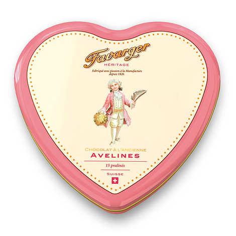 Favarger - Cœur en métal 15 chocolats suisses au caramel Avelines Favarger