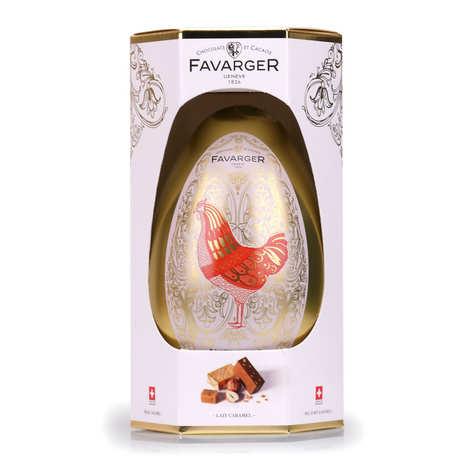 Favarger - Grand oeuf de Pâques en métal garni de chocolats suisses