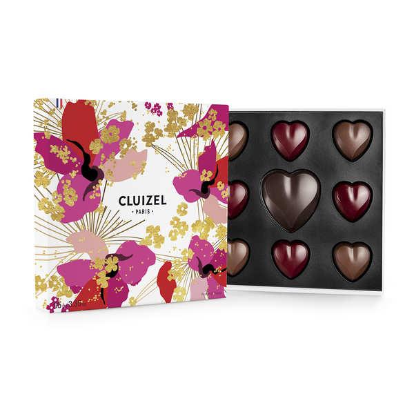 Coffret d'amour n°15 chocolats noirs et laits Michel Cluizel