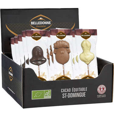 Organic Milk Chocolate Lollipops Savanna Animals