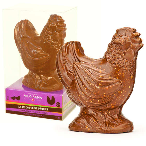 Milk and nougat chocolate hen - Monbana Chocolatier