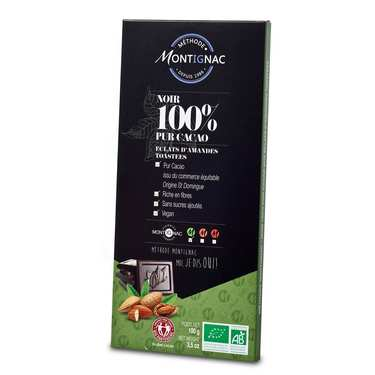 Organic Bar of Dark Chocolate Pure Cocoa 100% and Almonds - Montignac