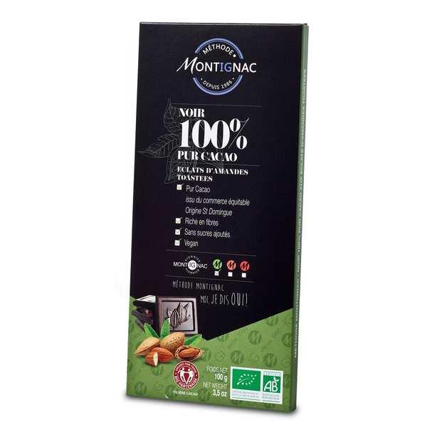 Organic Bar of Dark Chocolate Pure Cocoa 100% and Almonds - Montignac