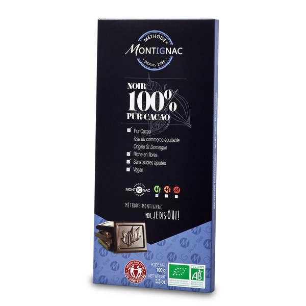 Tablette chocolat noir pur cacao 100% bio - Montignac