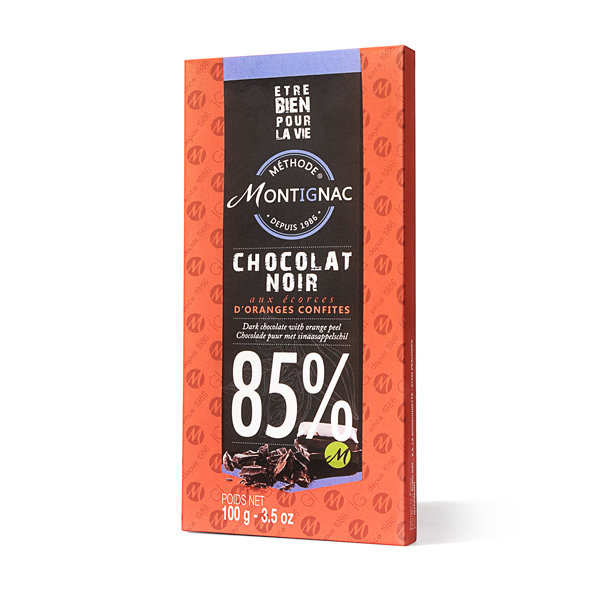Dark Chocolate 85% in the peel of oranges