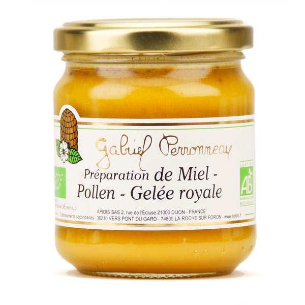 Mélange miel crémeux, pollen et gelée royale bio