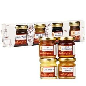 Miellerie du Prieuré - Coffret 4 miels acacia, châtaignier, printemps, montagne