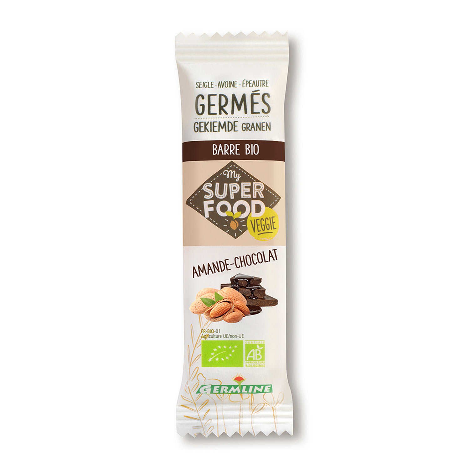 Organic Prouted Cereals Bar almond and chocolate