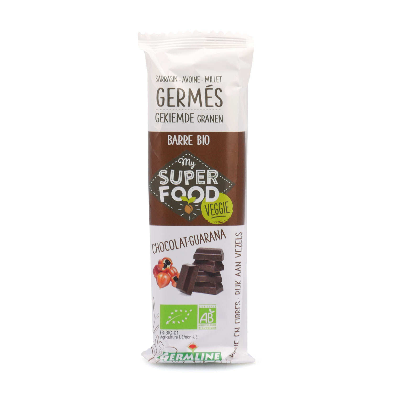 Organic and Gluten Free Sprouted Grains Bar Chocolate and Guarana
