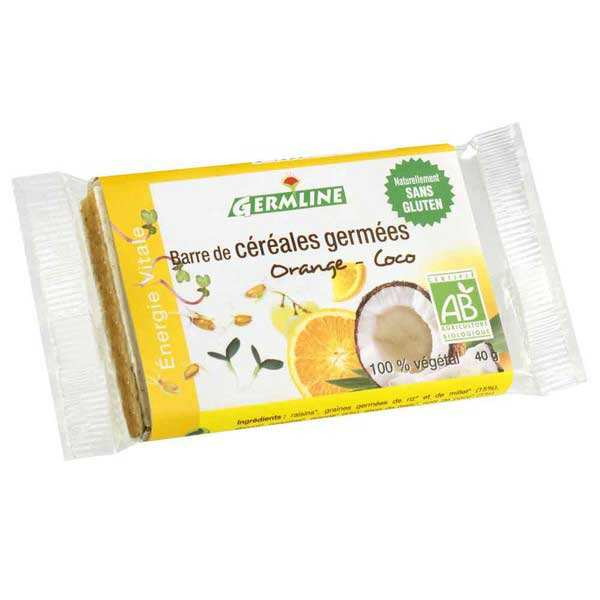 Organic and Gluten Free Germinated Cereal Bar Orange and Coconut