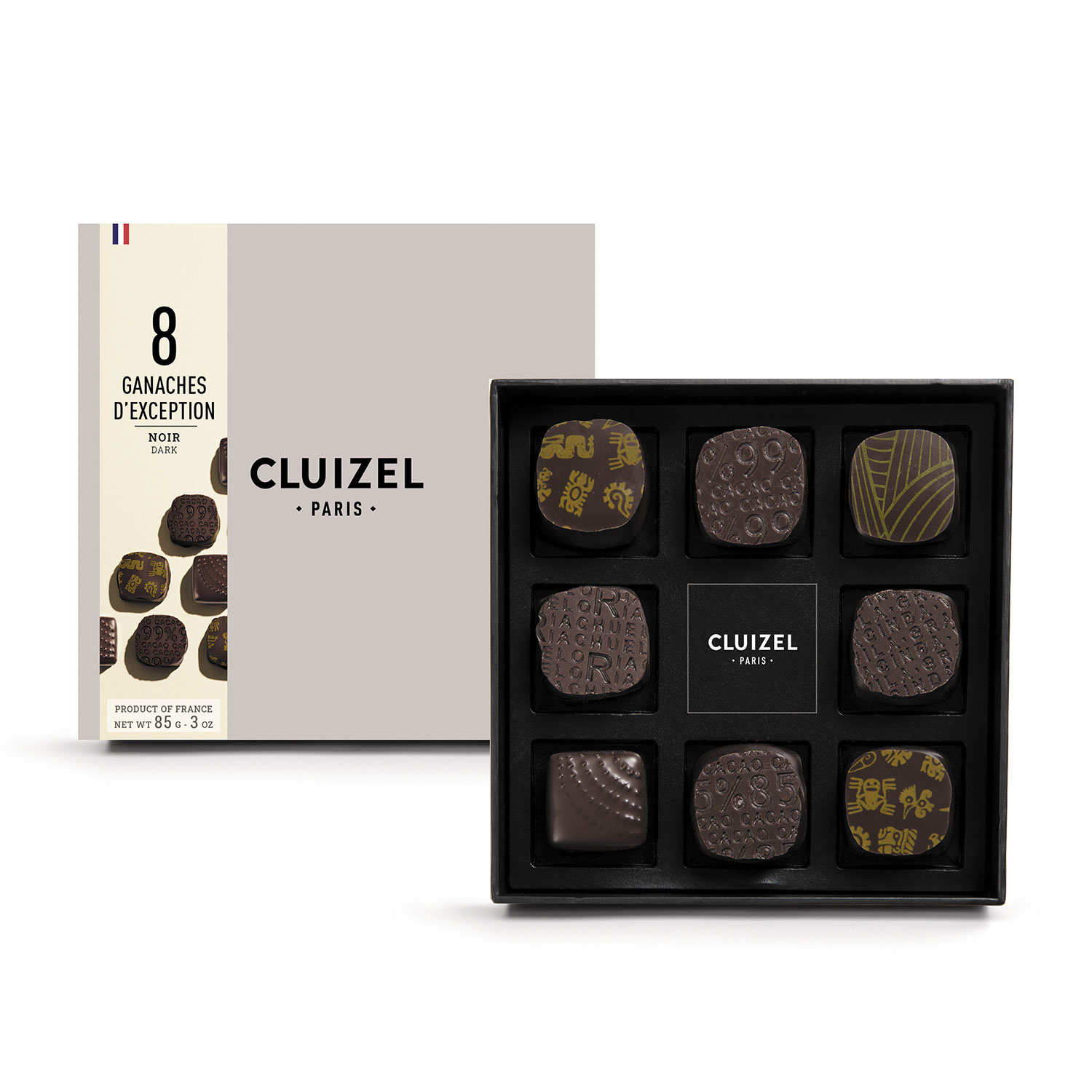 Box 8 single estate ganaches dark chocolate Michel Cluizel