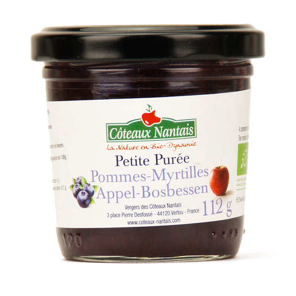 Purée de pommes myrtilles bio