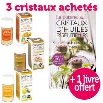 Aromandise - 3 cristaux d'huiles essentielles bio + 1 livre offert
