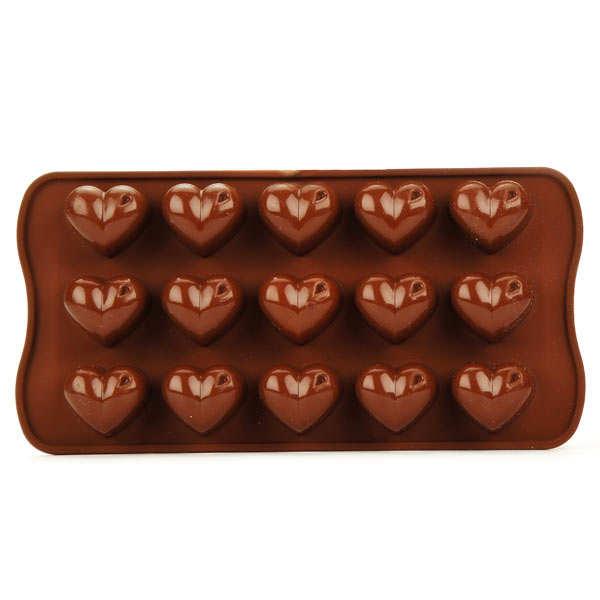 Moule silicone pour chocolat - coeurs - planche de 15 coeurs