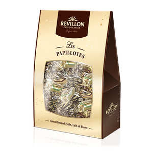 Revillon chocolatier - Christmas dark, milk and white chocolate papillotes