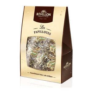Revillon chocolatier - Papillotes Révillon assortiment chocolat noir lait et blanc