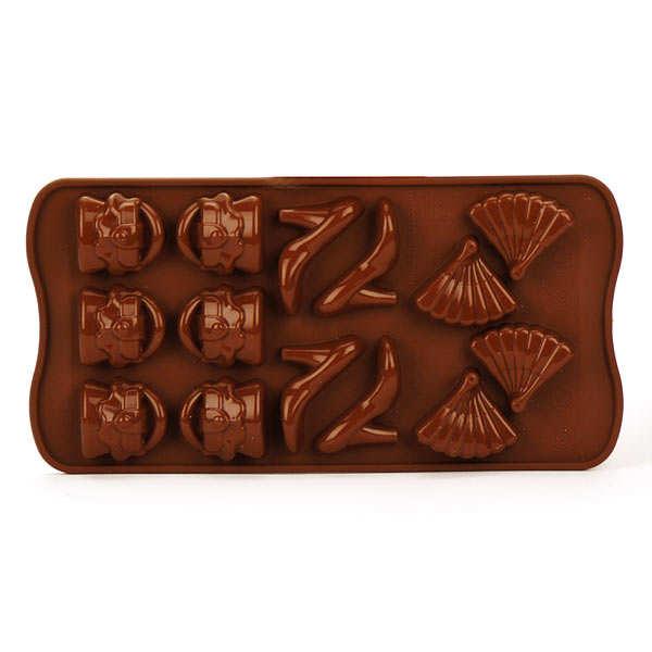 Moule spécial chocolat articles de mode - planche de 14 formes