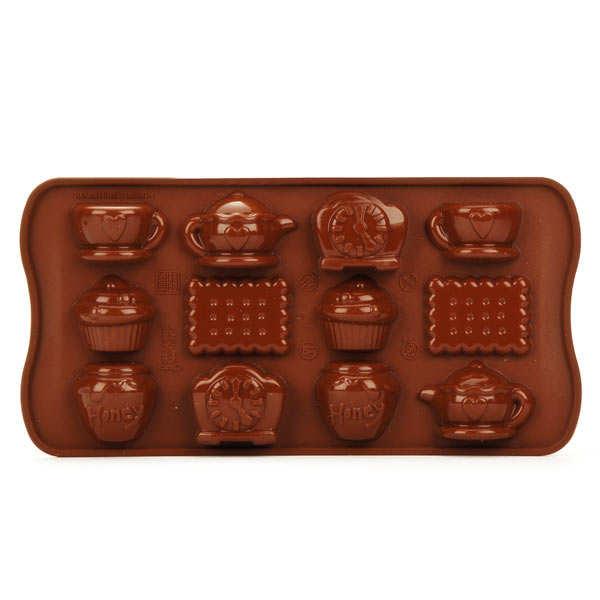 Moule en silicone spécial chocolat teatime - planche 12 formes