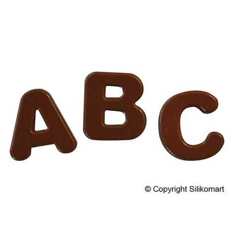 """Silikomart - Moule en silicone spécial chocolat """"lettres et symboles"""""""