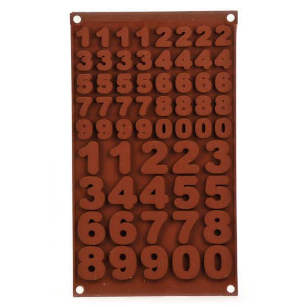 Moule en silicone spécial chocolat chiffres et nombres - moule 124ml