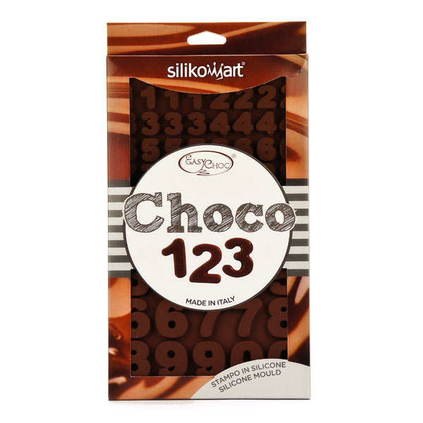 """Moule en silicone spécial chocolat """"chiffres et nombres"""""""