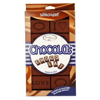"Silikomart - Moule en silicone spécial chocolat ""I love chocolat"""