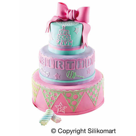 "Silikomart - Tapis décoratif pâtisserie ""Happy Birthday"" - Wonder Cake"