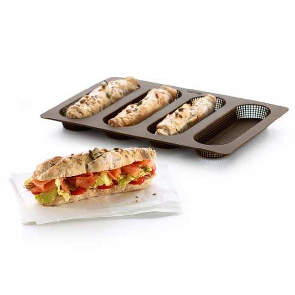 Silicone oven mat for mini baguette bread