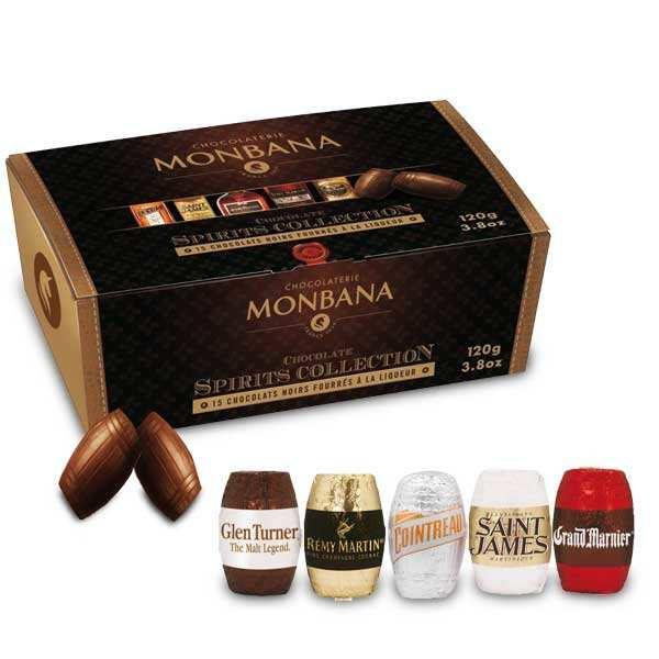 Black chocolates stuffed with prestigious liquors