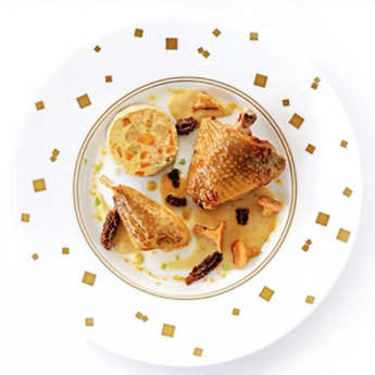 Comtesse du Barry - Guinea Fowl Thigh with Chablis, Chanterelles, Morels and Vegetables
