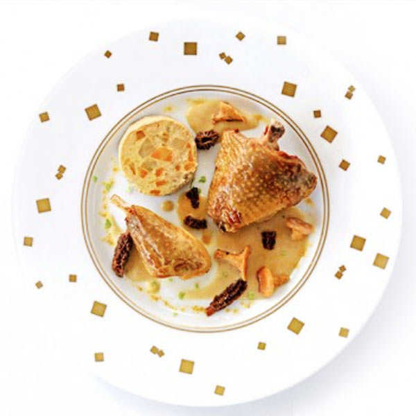 Guinea Fowl Thigh with Chablis, Chanterelles, Morels and Vegetables