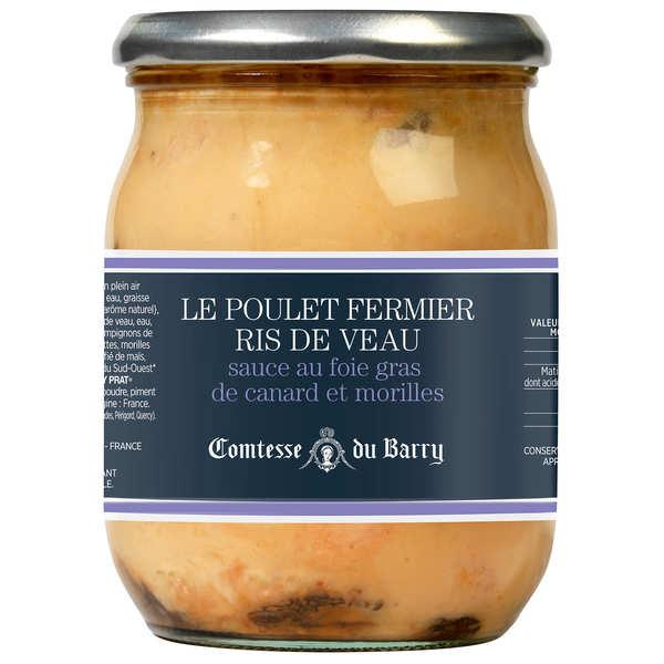 Ris de veau braisés et poulet fermier, sauce foie gras et morilles