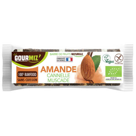 Gourmiz - Raw and organic bar Almonds - Cinnamon - Nutmeg
