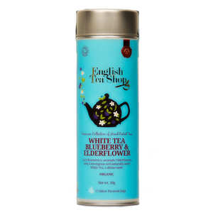 English Tea Shop - Thé blanc fleur de sureau et myrtille bio - Boite métal sachets mousseline