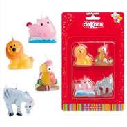 Dekora - 4 bougies animaux du zoo