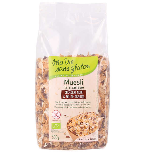 Müesli bio chocolat noir et multi graines - sans gluten