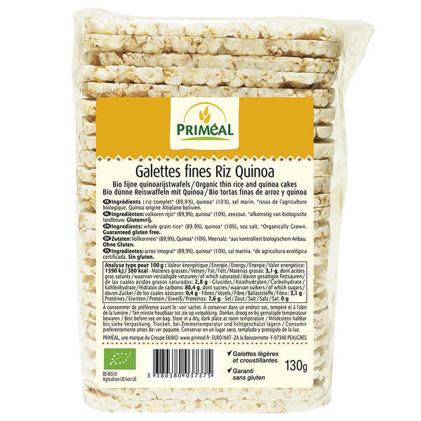 Galettes fines bio de riz et quinoa