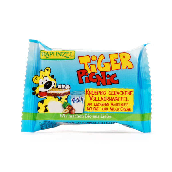 Organic Tiger Snack, Biscuit stuffed with chocolate spread and milk cream