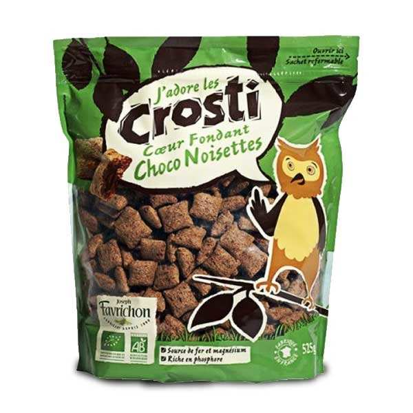 Organic Crunchy Wheat Cereals Stuffed with Chocolate