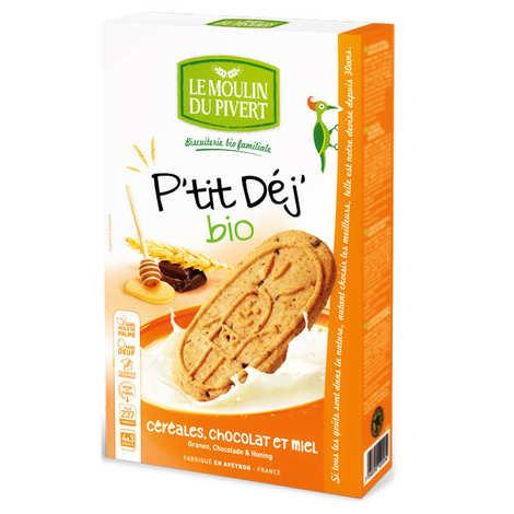 Le Moulin du Pivert - Biscuits P'tit déj' bio Céréales miel et chocolat
