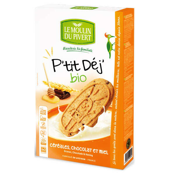 Biscuits P'tit déj' bio Céréales miel et chocolat