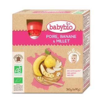 Baby Bio - 4 Gourdes bio poire, banane, millet dès 6 mois