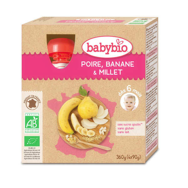 4 Gourdes bio poire, banane, millet dès 6 mois