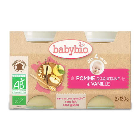 Baby Bio - Petits pots bio pomme vanille dès 4 mois