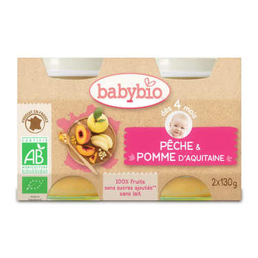 Organic Peach and Apple Baby food jar from 4 months