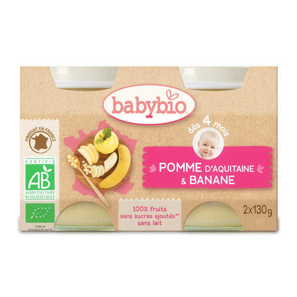 Organic Apple and Banana  Baby food jar from 4 months