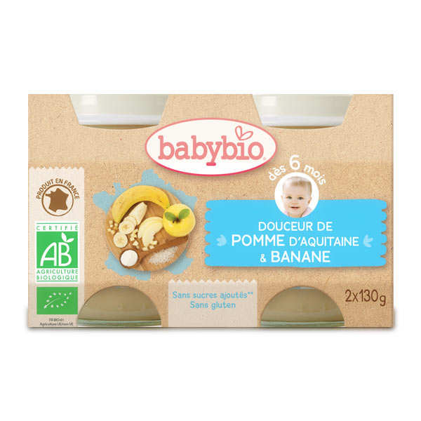 Organic Apple and Banana with cream Baby food jar from 4 months