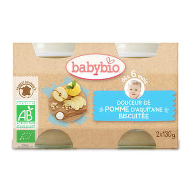 Organic Apple and Biscuit Baby food jar from 4 months