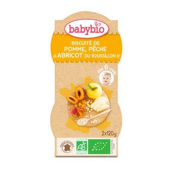 Baby Bio - Bol biscuité pomme, pêche abricot, dès 6 mois
